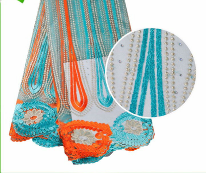 Picture of African French Tulle Net Lace Fabric with Stones
