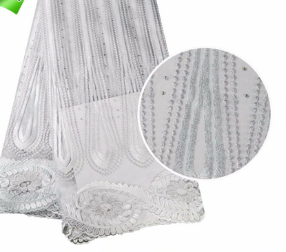 Picture of High Quality 100% Cotton Elastic Embroidery African Style French Tulle Lace Fabric