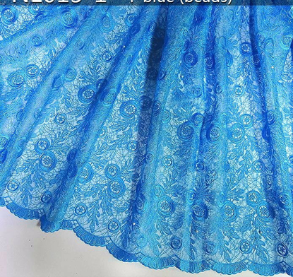 Picture of T -blue beaded french net lace embroidery bridal laces fabrics