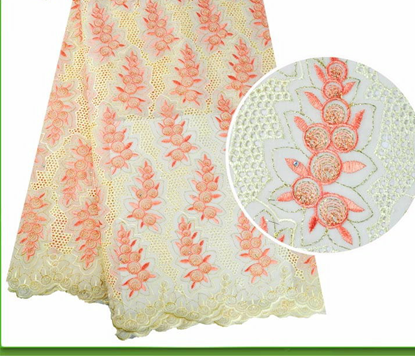 Picture of New Peach African Heavy Cotton Swiss Voile Lace Fabrics