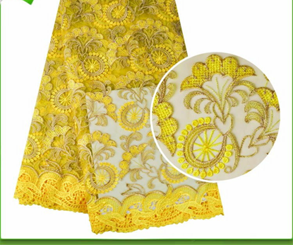 Picture of French Lace Fabric Mix Cord Embroidery for Wedding