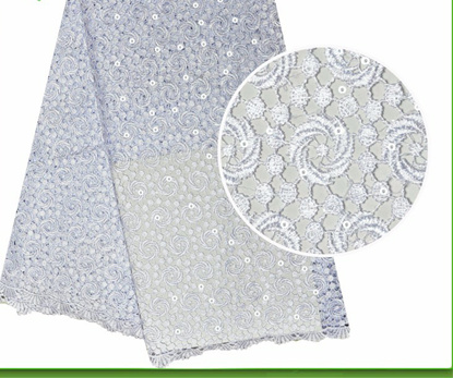 Picture of nigeria white cord lace fabric with sequins