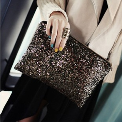 Picture of new Korean sequins beads hand bag cosmetic bag dinner envelope