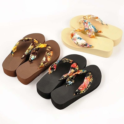 Picture of summer silk slope with thick bottom drag ladies beach shoes sandals female clip wholesale