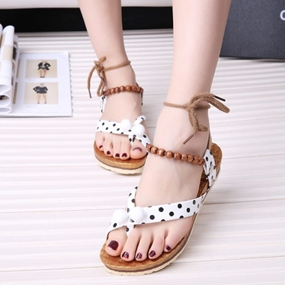 Picture of Beaded sandals female with flat toe sandals