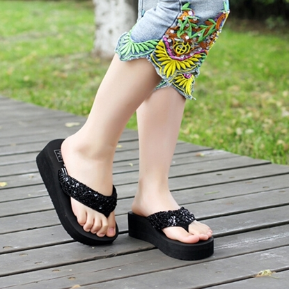 Picture of he explosion pinch sequins with thick soles muffin flip flops female slippers sandals slippers wholesale wedges
