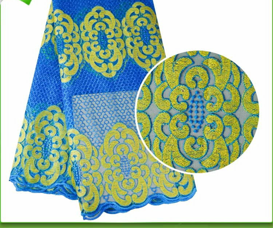 Picture of Blue Nigerian Handmade Stones African Swiss French Net Lace Fabrics