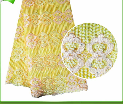 Picture of 2017 New Arrival Yellow African Nigerian Style Wedding French Lace Fabric