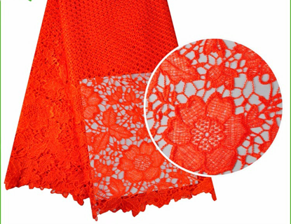 Picture of Cord  embroidered netting fabric red beaded french lace with beads