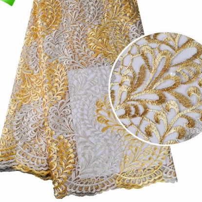 Picture of frican Style French Net Tulle Lace Fabric with Pearls Beads