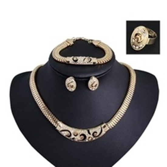 Picture of Hollow Vintage Necklace Earring Bracelet Ring Set For Women 4-Piece Jewelry Set