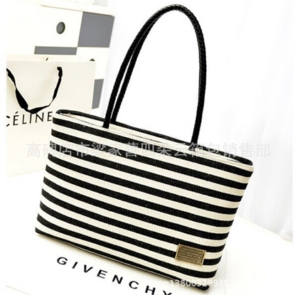 Picture of canvas bags fashionable new Navy Stripe woven Handbag Bag