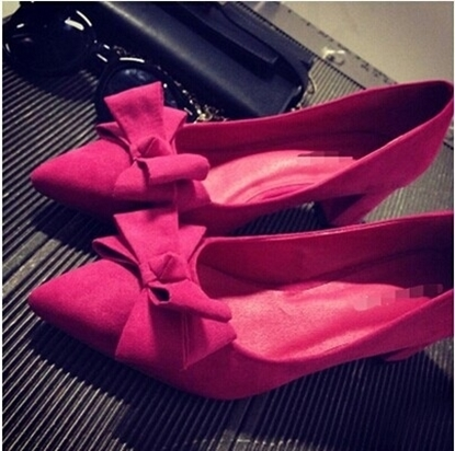 Picture of European bow thick with shallow mouth pointed fashion ladies shoes